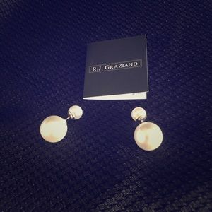 R J Graziano double ball Earrings new pearl silver
